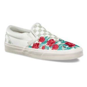 Embroidered Checkered Vans Slip-ons